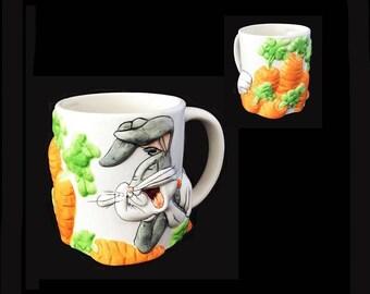 Large Bugs Bunny Mug, Vintage Looney Tunes Ceramic Mug, Character Mug