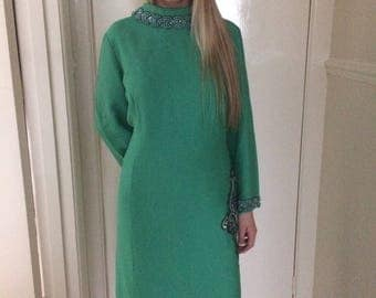 1960s Peggy French Green Embelished Shift dress sz 16