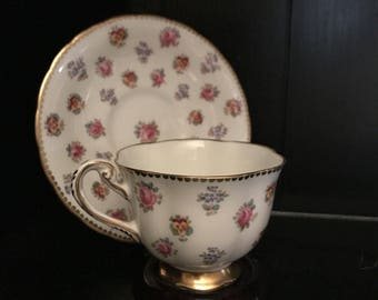 Antique Royal Chelsea Bone China Teacup England Vintage Floral Gold Trim