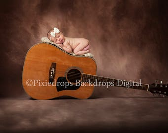 Digital Backdrop (Newborn Photography Prop, Guitar on Brown Textured Backdrop) Digital Download 2 FILES