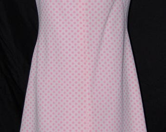 vintage 60s mod dress, pink polka dot, sleeveless summer dress, keyhole neck, cut out neck, polyester knit