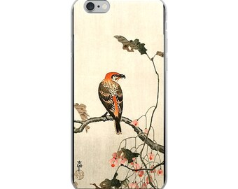 Japanese bird iPhone case, Asian woodblock print, great for nature lovers and bird lovers