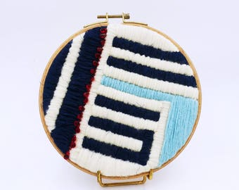 Embroidery circle embroidery wall geometric graphic modern embroidery, textile art, decoration, tapestry, made in France, nayquach