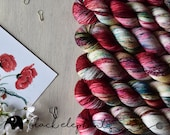 PRE-ORDER  Cherry Orchard Hand dyed fingering yarn  superwash merino contemporary single ply yarn speckled yarn cherry red green brown 100g
