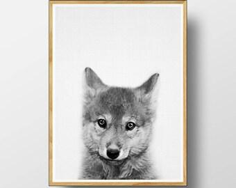 Wolf Cub Print, Wolf Cub Wall Art, Nursery Decor, Nursery Print, Nursery Printable, Printable Art, Kids Room, Nursery Animal Print, Wolf Cub