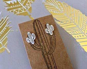 Cactus earrings, silver plated cactus earrings, dainty cactus earrings , southwestern cactus earrings, tiny saguaro earrings, cactus studs