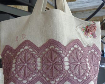 Purple guipure lace and vintage hemp Tote