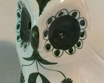 Funky Retro Modern Artisan Figural Ceramic Owl Bank