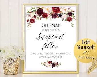 Snapchat Filter Sign, Snapchat Filter Wedding Print, Social Media Sign, Wedding Sign, Editable Wedding Hashtag, Burgundy Snapchat Filter