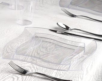 Kaya Collection - Deluxe Wave Clear Disposable Plastic Party Package - Includes Dinner Plates, Salad Plates, Silver Cutlery, Tumblers