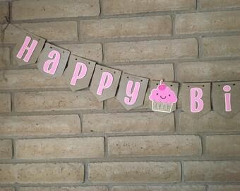 Cupcake Birthday Banner, happy birthday banner, pink birthday banner, cute cupcake banner, cupcake party