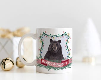 Beary and Bright Christmas Coffee Mug | Watercolor Christmas Mug | Bear Christmas Mug | Christmas Crest Mug | Merry and Bright Holiday Mug