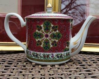 Vintage Takahashi Tea Pot * Burgundy Red and Green accented with 24kt Gold * Exceptional Condition