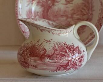 "Rare set.  Antique French U&C SARREGUEMINES ""Canard"" duck washing Pitcher and Basin - French bathroom-  Salle de bains"