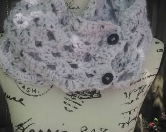 2 Button Black and White  Scarf