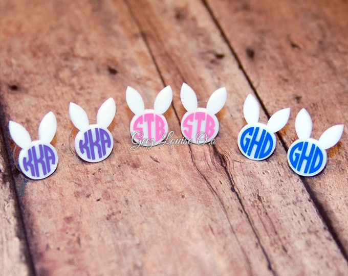 Bunny Easter Earrings Egg Acrylic Stud Kids Basket Goodies Personalized Monogram