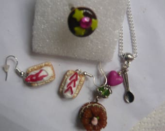 OFFER * 3 clay food jewelry polymer + gift