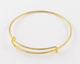 2 Gold Tone Iron Expandable Charm Bangle Bracelets 65mm (B476b)
