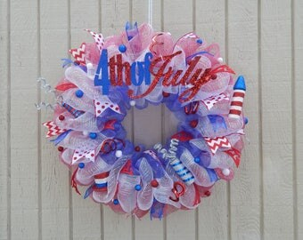 4th of July Wreath Memorial Day Wreath, Summer Mesh Wreath, Summer wreath Spring Wreath