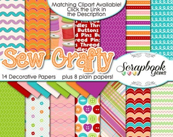 """SEW CRAFTY Digital Papers, 22 Pieces, 12"""" x 12"""", High Quality JPEGs, Instant Download thread needle sewing buttons handmade stitching stitch"""