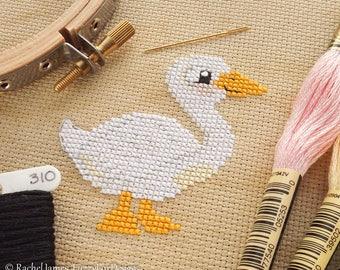 Pretty Peking Duck Cross Stitch Pattern PDF | Pekin | Cute Little Bird | Easy | Modern | Beginners Counted Cross Stitch | Instant Download
