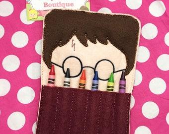 Crayon holder - boy wizard (includes crayons)