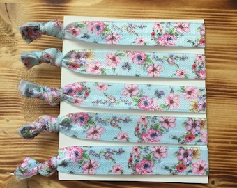 Floral Hair Ties | Creaseless Hair Ties | Birthday Party Favors | Fold Over Elastic Ties | Pony tail holders | Thank you gift Bulk Hair Ties