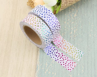 Washi Tape - Foil Washi Tape - Rainbow Dots Foil Washi Tape - Paper Tape - Planner Washi Tape - Washi - Decorative Tape - Deco Paper Tape