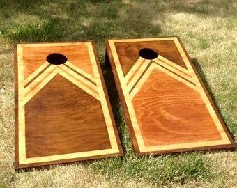 Cornhole Boards, Classic and Retro design, Regulation Size Bean Bag Boards