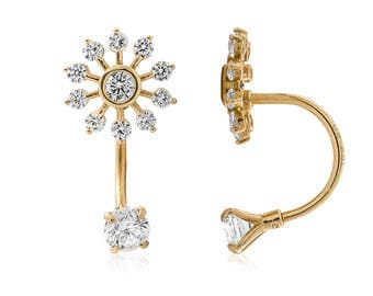 14K Yellow/White Gold CZ Snowflake Telephone Ear Jacket Earrings