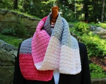 Pink & Gray Scarf, Crochet Scarf, Neckwarmer, Winter Fashion Accessory, Teen Scarf, Women's Scarf