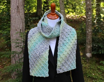 Crochet Scarf, Variegated Twist Scarf, Neckwarmer
