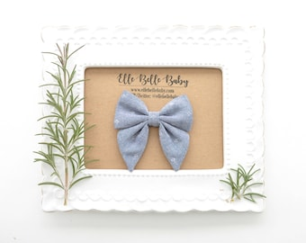 Denim Blue Chambray Sailor bow clip-Elle Baby Headband - Newborn bow - Hairbow with tails - Toddler hairclip -Nylon Headband-Elle Belle Baby