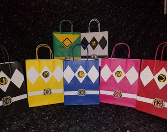 12 Power Ranger Inspired Party Bags// Goodie bags// Gift Bags