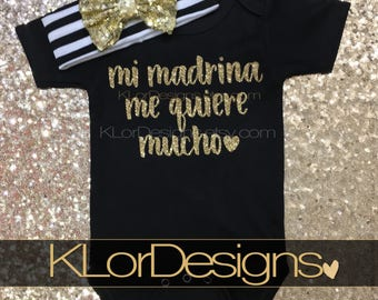 Mi Madrina me quiere, Spanish baby clothing, Godmother Loves Me, God daughter gift, baby girl bodysuit, baby shower gift, godmother gift