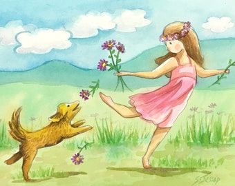 Fun in the Field original watercolor illustration