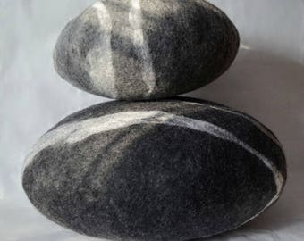 Felted wool stone , Pebble pillows , pillows , felted wool stone pillows,  natural home stone decoration , Big soft stone. wool stone