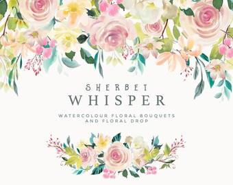 Floral Clipart Set - Sherbet Whisper. Six Bouquet Arrangements and 1 Floral Drop