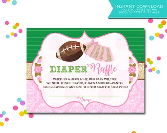Instant Download Touchdowns or Tutus Gender Reveal Printables, Diaper Raffle Tickets, Gender Reveal Printables