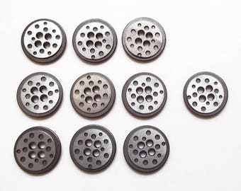 10 round buttons in silver metal 18 mm