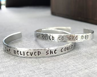 Personalized Bracelet, Hand-Stamped Cuff, Mantra Bracelet, Custom Hand Stamped Bracelet, Silver bracelet