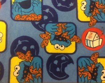"1/2 yard Cookie Monster flannel - Sesame Workshop fabric, 43-44"" wide, 100% cotton flannel"