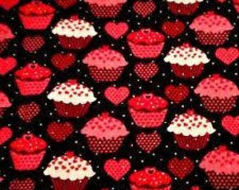 "Red Cupcakes on Black fabric, By the Half Yard, Valentines day fabric, novelty cotton, quilting fabric, 44"" wide, 100% cotton"