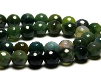 Faceted Moss Green Agate Natural Stone