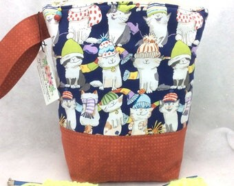 Knitting Project Bag, Cat Knitting Bag, Crochet Project Bag, WIP Bag, Sock Knitting Bag, Cat Print Craft Bag, Knitting Tote