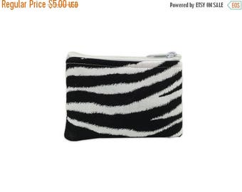 20% OFF SALE Zebra Print Coin Bag // Change Purse // Pouch