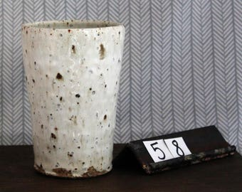 Stoneware Cup with Monterey Beach Sand/ Tumbler/ Handmade/ NowWhatPotteryWorks/ White/ Dishware / Simple #52