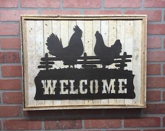 Welcome, Metal Welcome, Welcome Decor, Welcome Sign, Welcome Sign, Rooster Welcome, Rooster Decor, Farmhouse Decor, Housewarming Gift, Barn