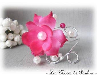 Wedding bracelet fuchsia pink and white Anais 'Les swirls' has