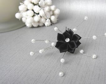 Black and white satin hair stick v2d jewelry